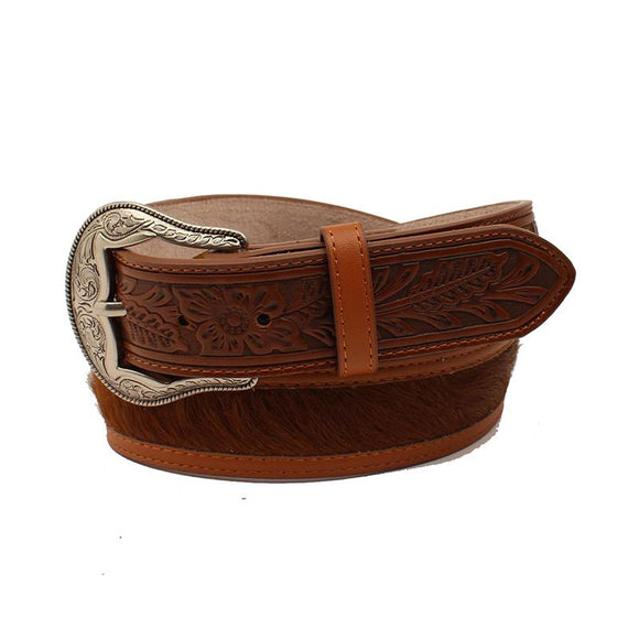 Floral Embossed Billet Cowhide Belt