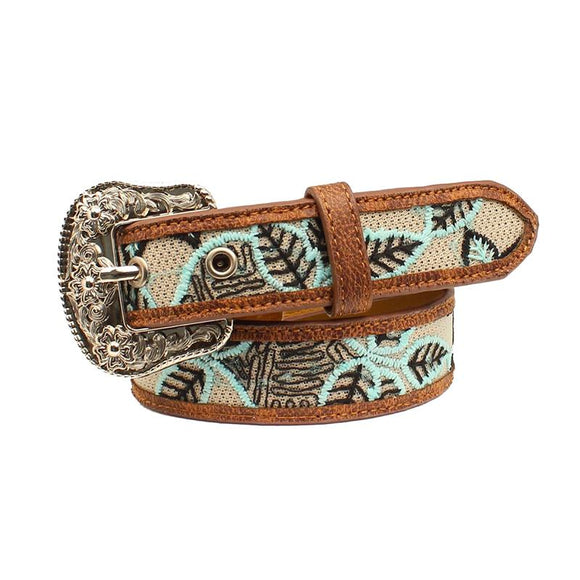 Girls Mint Leaf Embroidered Belt