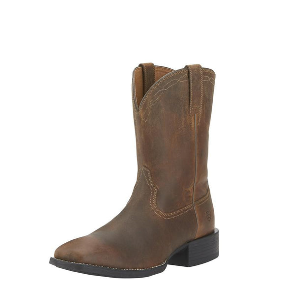 Ariat Mens Heritage Roper Wide Square Toe Powder Brown Boot
