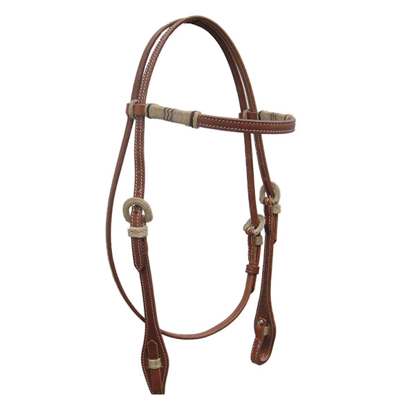 Stitched Bridle Straight Brow w Rawhide