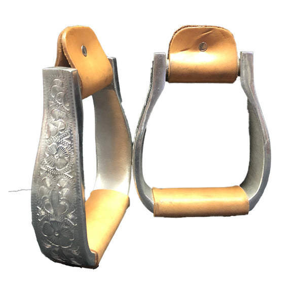Aluminium Visal Engraved Wide Stirrup with Leather