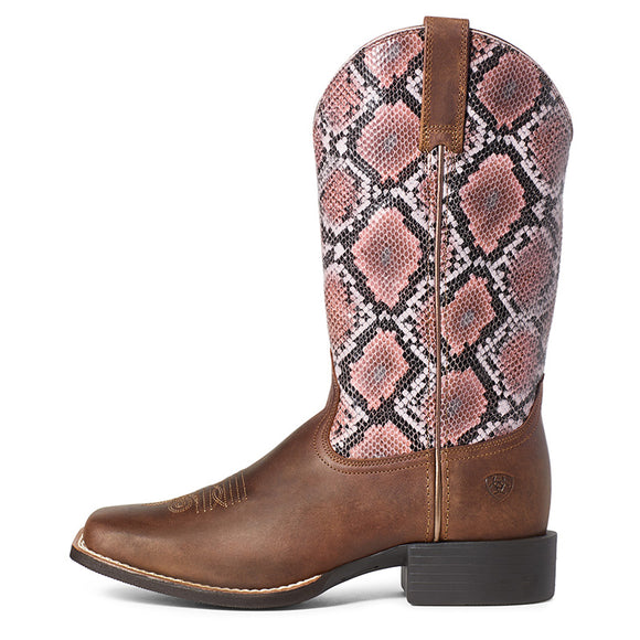 Ariat Wmns Round Up WST Pink Snake Boot