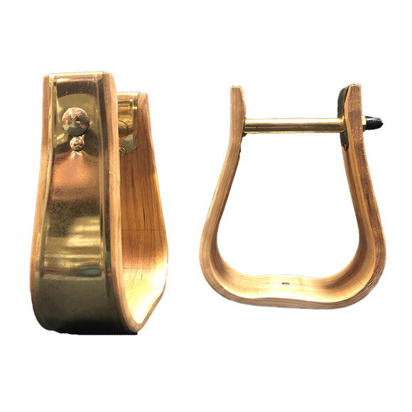 Weaver Wooden Stirrups Solid Brass Bound Visalia