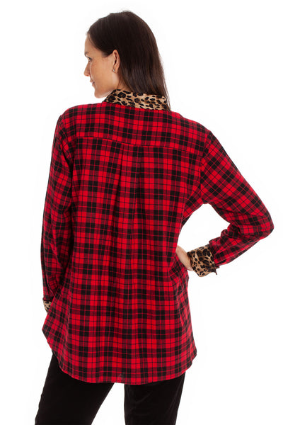 The Rohmi Top - Plaid Leopard