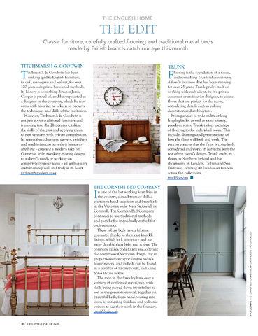 The English Home Magazine featuring The Cornish Bed Company