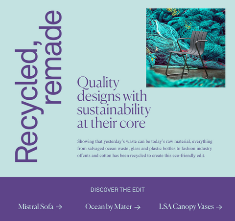Heal's Recycled Materials Range of Products | Recycle Week 2020