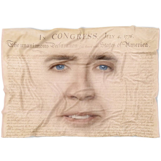 Nicolas Cage Face Fleece Blanket | Funny National Treasure Meme Blanket | Declaration of Independence