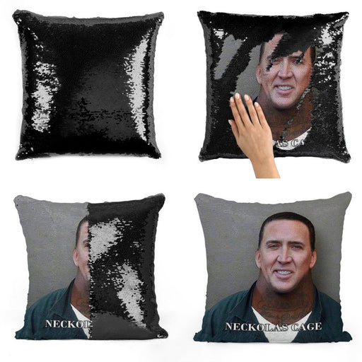 Nicolas Cage Neck fellow face sequin pad | sequin Pillowcase |