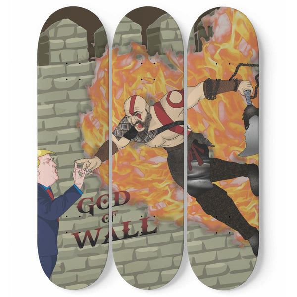 TRUMP & KRATOS SKATEBOARD WALL DESIGN