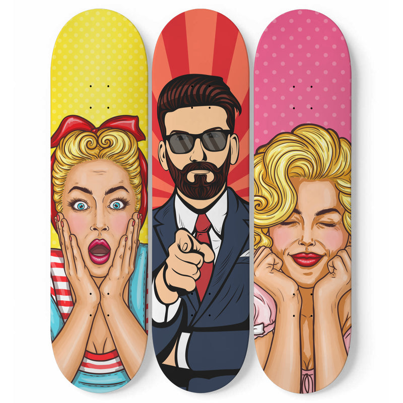 COLORFUL PEOPLE WALL SKATEBOARDS ART