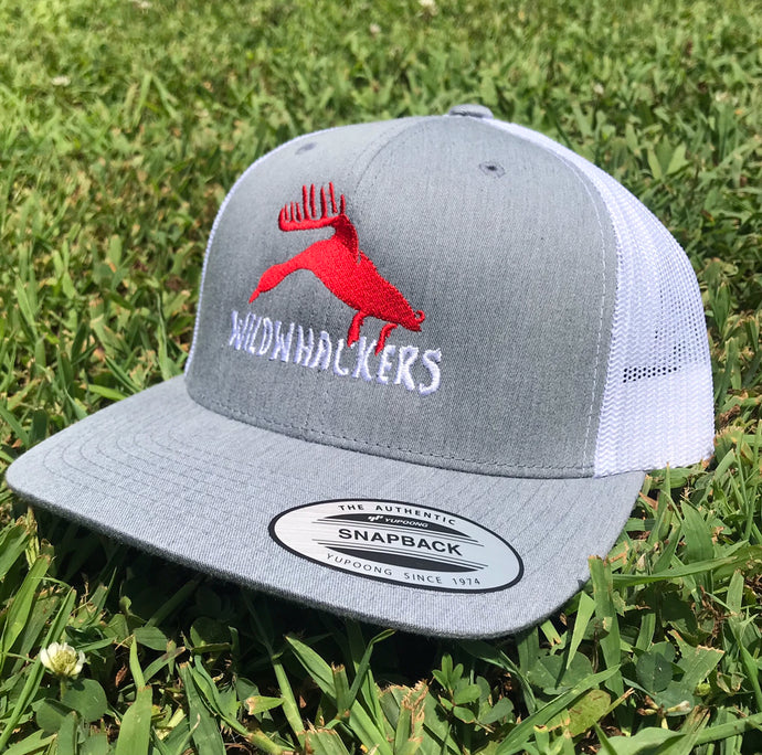 Heather Grey/White SnapBack with Red Logo