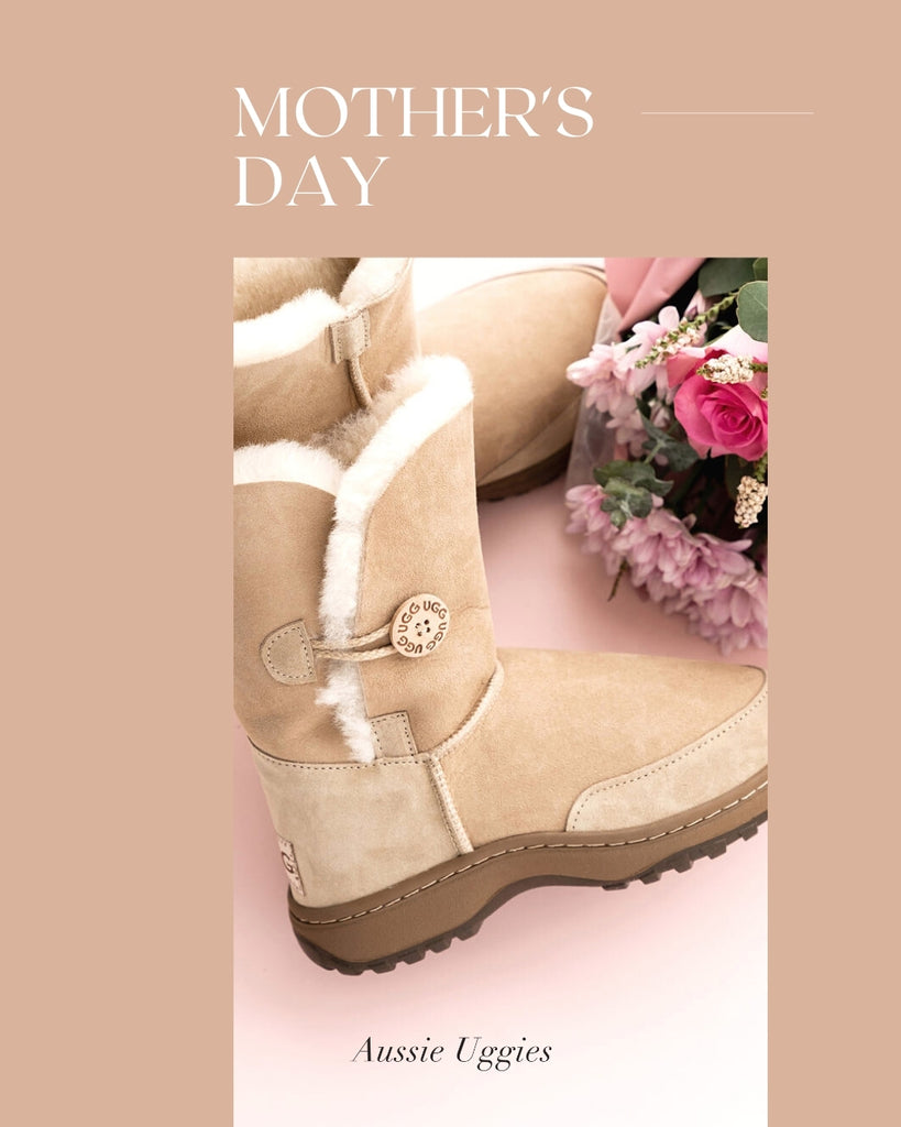 Aussie Uggies Mother's Day Outdoor Button Ugg Boot Sand