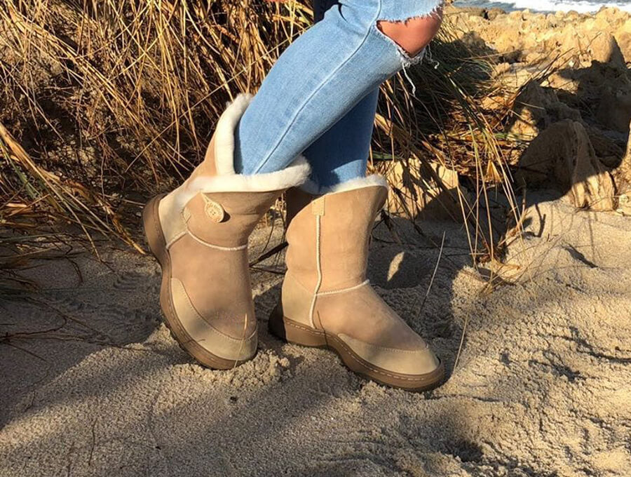 Adults Sand Bella Button Ugg Boot Outdoor Sole Option