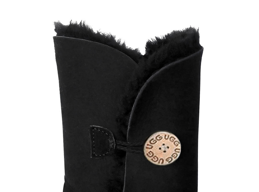 Adults Black Bella Button Ugg Boot Cuff