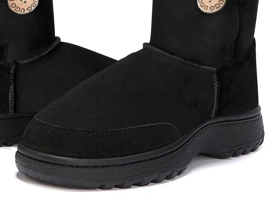 Adults Black Bella Button Ugg Boot Outdoor Sole Detail