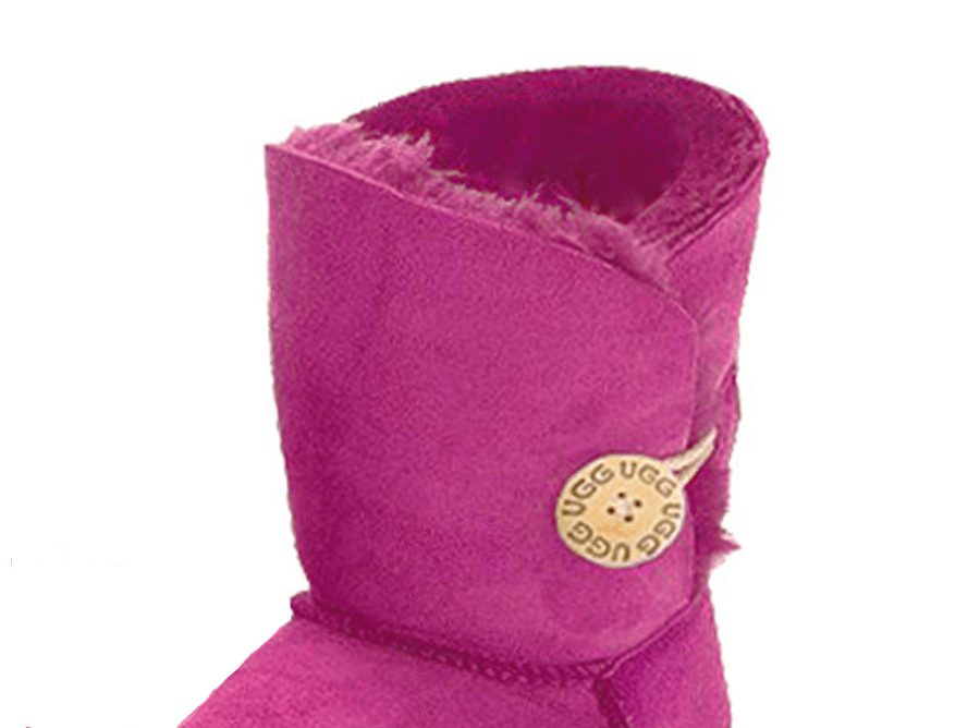 Adults Bright Rose Bella Button Ugg Boot Cuff Detail