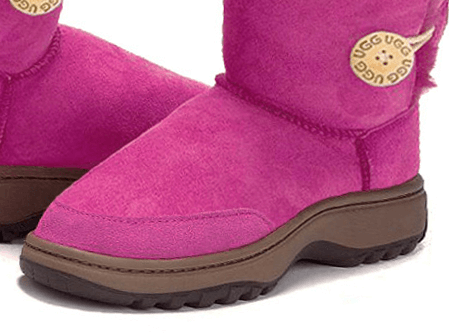 Adults Bright Rose Bella Button Ugg Boot Outdoor Sole Detail