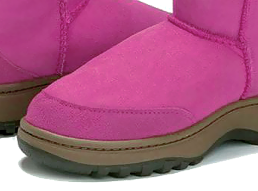 Adults Bright Rose Classic Ultra Short Ugg Boots Outdoor Sole Detail