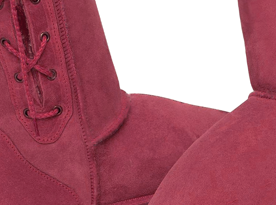 Adults Burgundy Lace Up Tall Ugg Boot Detail