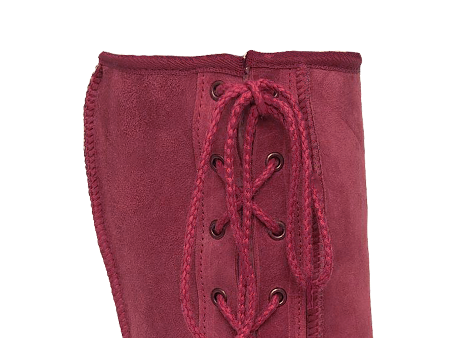 Adults Burgundy Lace Up Tall Ugg Boot Cuff