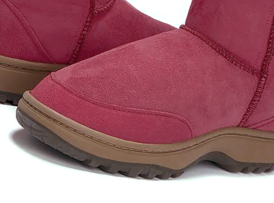 Adults Burgundy Lace Up Tall Ugg Boot Outdoor Sole Detail