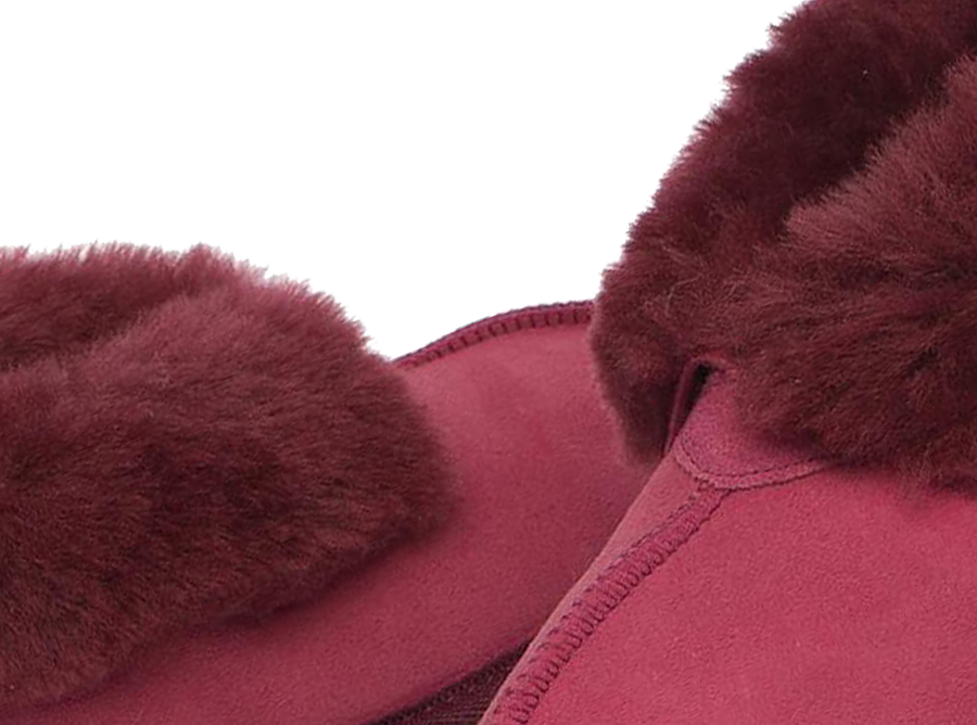 Adults Burgundy Classic Ugg Style Slipper Detail