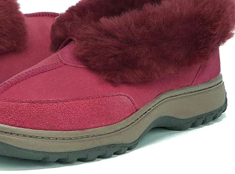 Adults Burgundy Classic Ugg Style Slipper Outdoor Sole Detail
