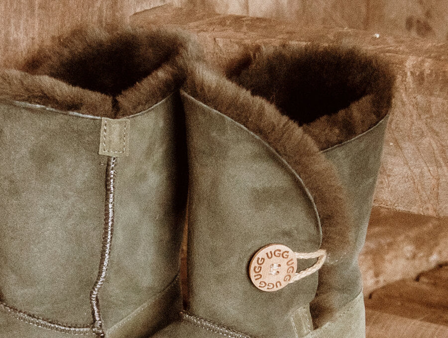 Adults Camo Green Bella Button Ugg Boot Cuff Detail