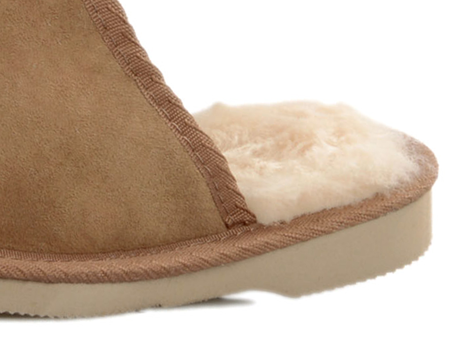 Adults Chestnut Classic Ugg Style Scuff Slippers Cuff Detail