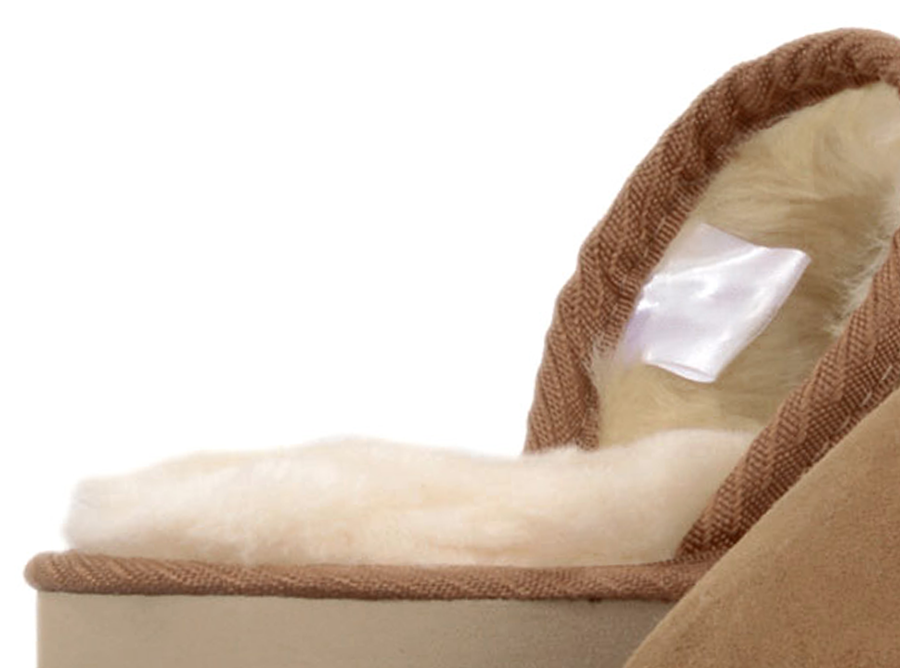 Adults Chestnut Classic Ugg Style Scuff Slippers Inside