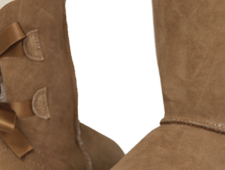 Adults Chestnut Mid Bow Ugg Boot Detail