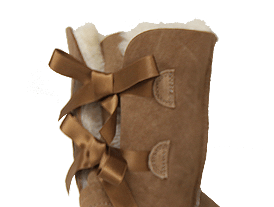 Adults Chestnut Mid Bow Ugg Boot Cuff Detail