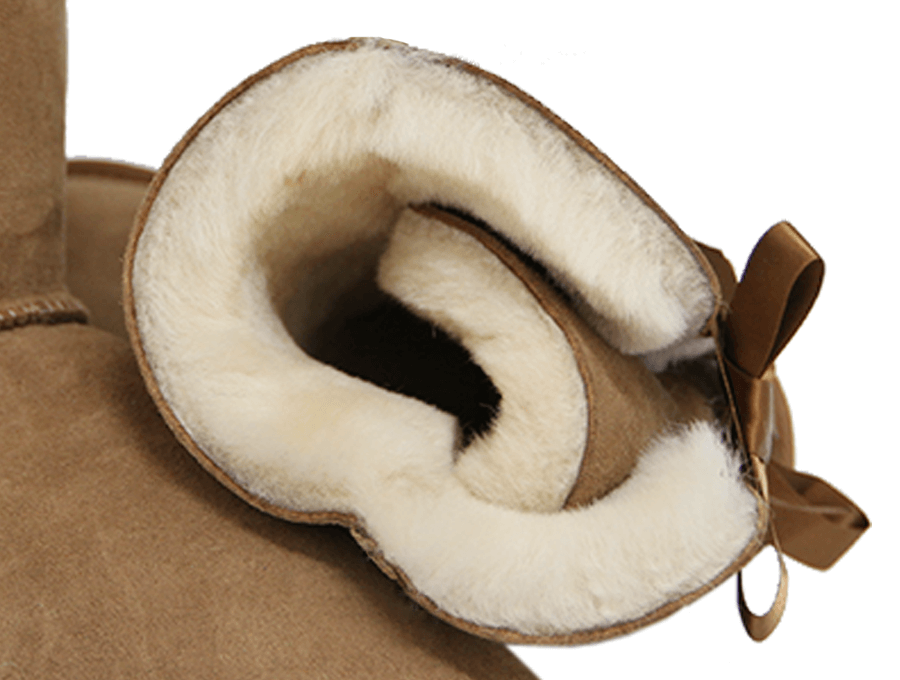 Adults Chestnut Mid Bow Ugg Boot Inner Detail
