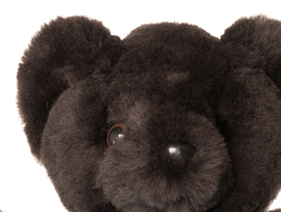Kids Chocolate Sheepskin Basil Bear Face Detail