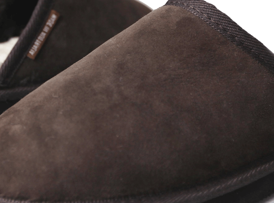 Adults Chocolate Classic Ugg Style Scuff Slipper Detail