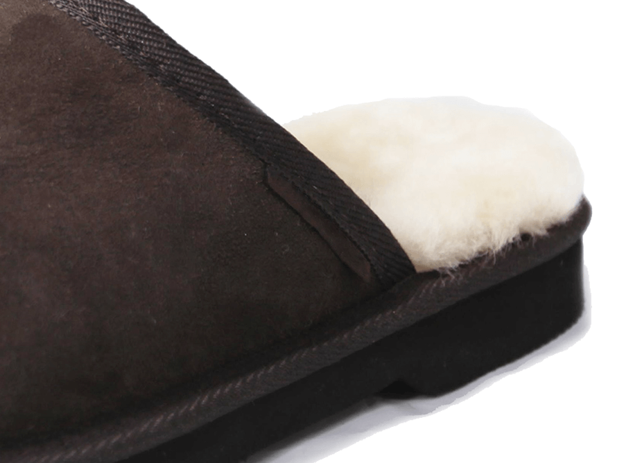 Adults Chocolate Classic Ugg Style Scuff Slipper Heel Detail