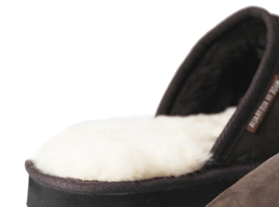 Adults Chocolate Classic Ugg Style Scuff Slipper Inner Detail