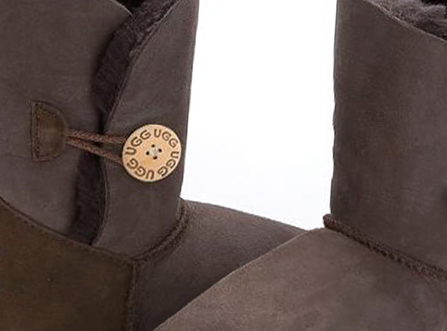 Adults Chocolate Bella Button Ugg Boot Detail