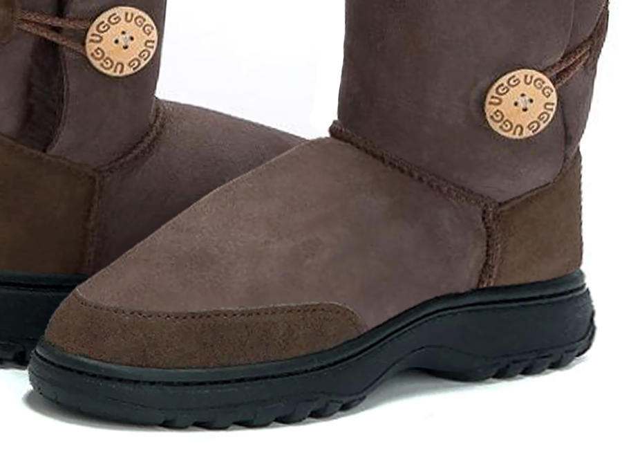 Adults Chocolate Bella Button Ugg Boot Outdoor Sole Detail