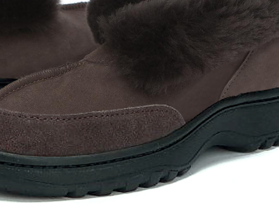 Adults Chocolate Classic Ugg Style Slipper Outdoor Sole Detail