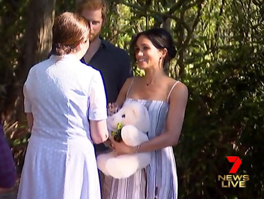 Live TV Screen Grab of Basil Bear Cream gifted to the Duke and Duchess of Sussex in 2018