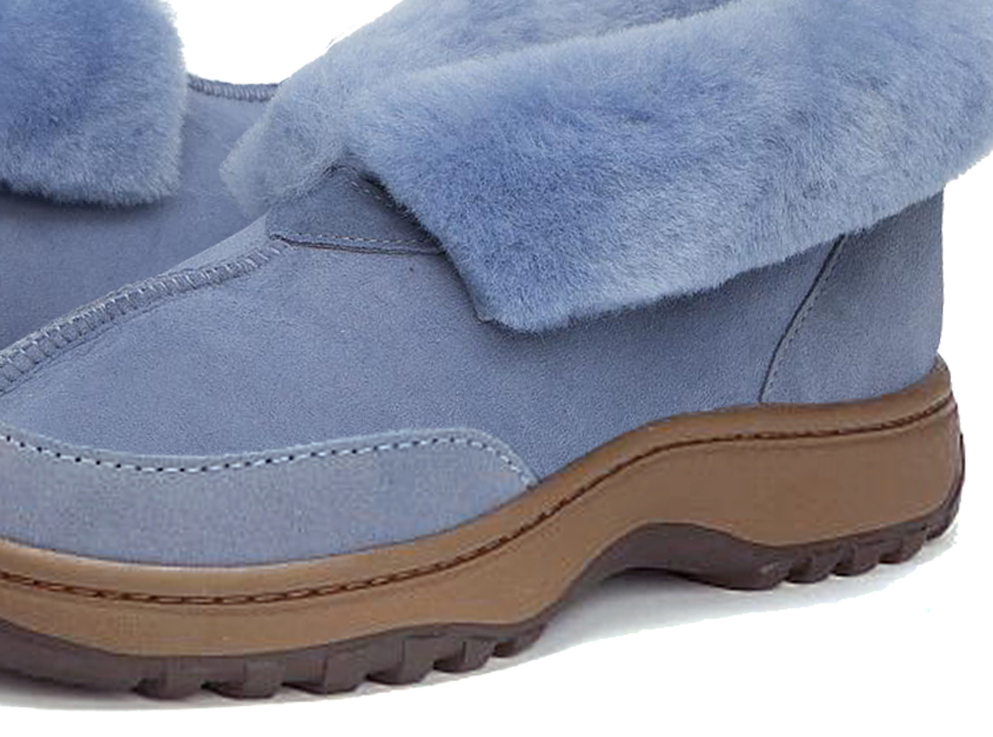 Adults Denim Blue Classic Ugg Style Slipper Outdoor Sole Detail
