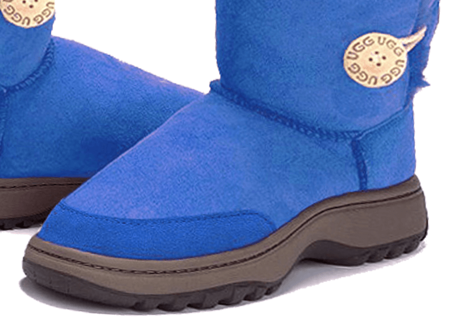 Adults Electric Blue Bella Button Ugg Boot Outdoor Sole Detail