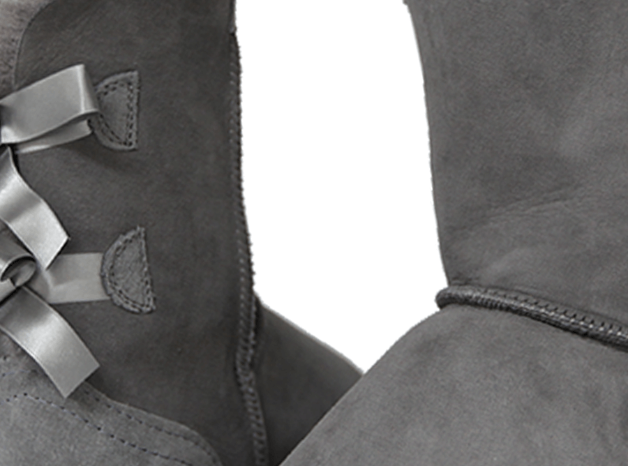 Adults Grey Classic Mid Bow Ugg Boot Detail
