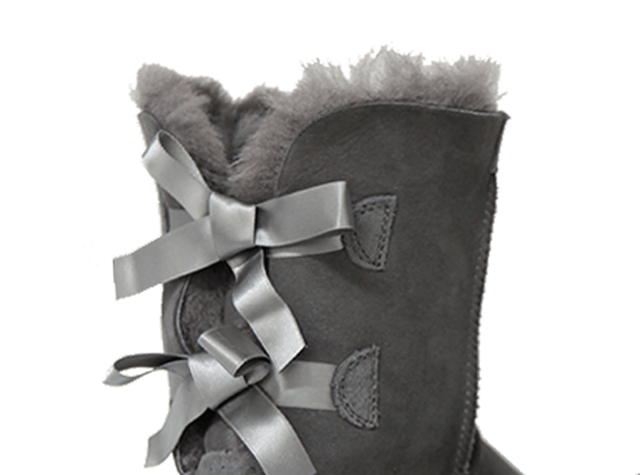 Adults Grey Classic Mid Bow Ugg Boot Cuff Bows
