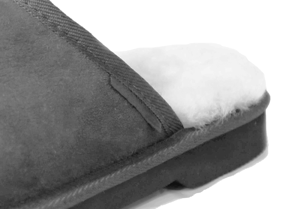 Adults Grey Classic Ugg Style Scuff Slipper Heel Detail