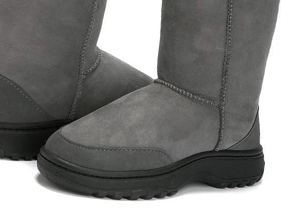 Adults Grey Ugg Boots with Outdoor Sole
