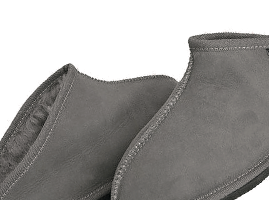 Adults Grey Classic Kalu Ugg Style Slippers Detail