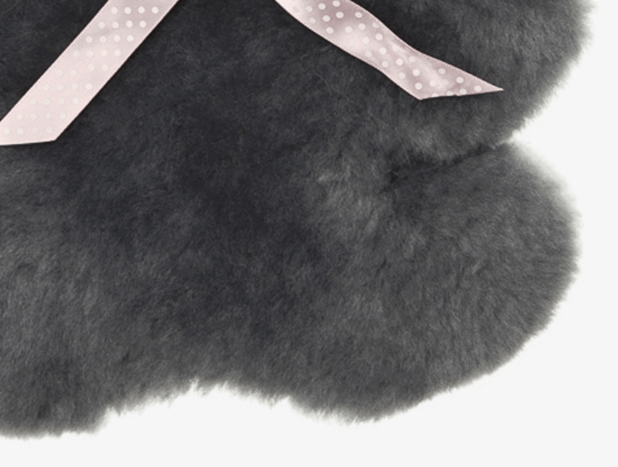 Kids Mid Grey Sheepskin Flat Koala Feet Detail