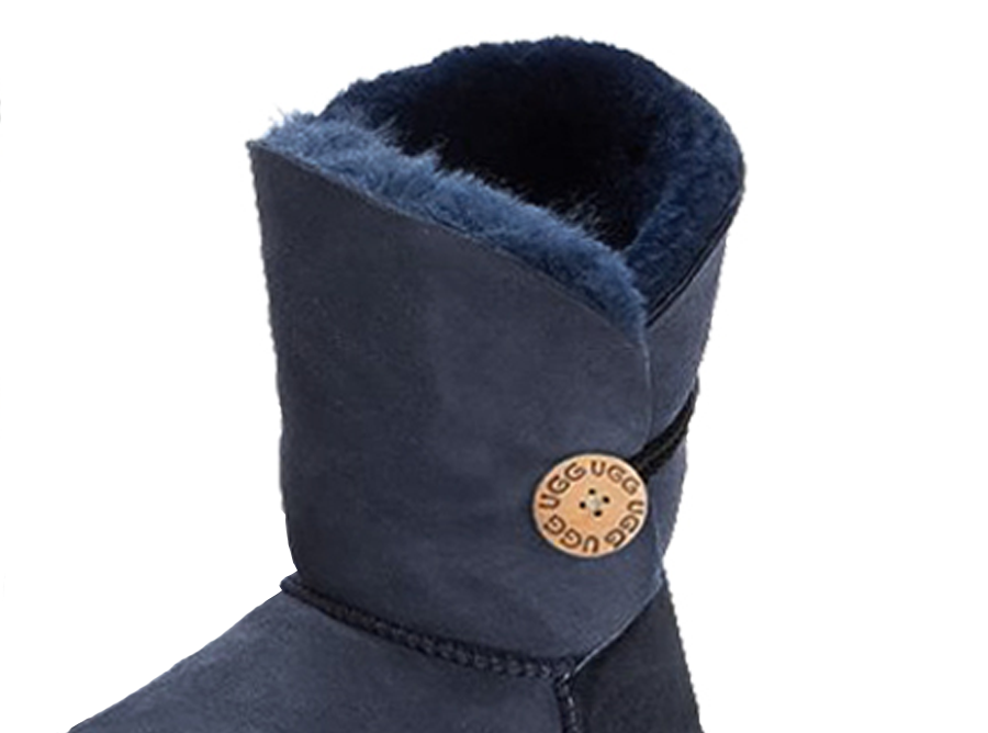 Adults Navy Bella Button Ugg Boot Cuff Detail